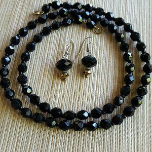 Jewelry - Back Glass Bead Necklace & Earrings Set